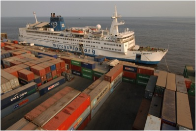 Mercy Ships uses Shipping Containers as Security Wall